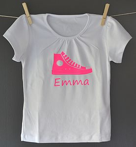 Girl's Personalised Neon Shoe T Shirt