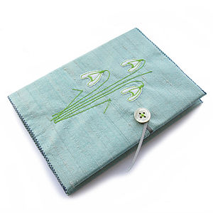 Snowdrop Freehand Embroidered Notebook - mother's day gifts