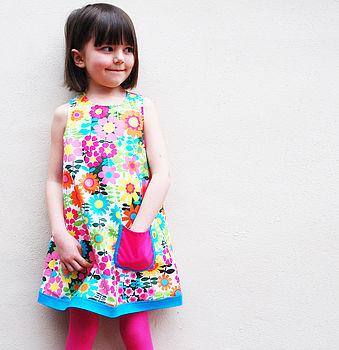 60s Floral Print Girls Dress