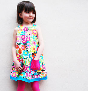 60s Floral Print Girls Dress - clothing