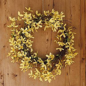 Forsythia Easter Wreath - living room