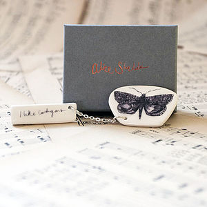 Handmade Earthenware Moth Brooch