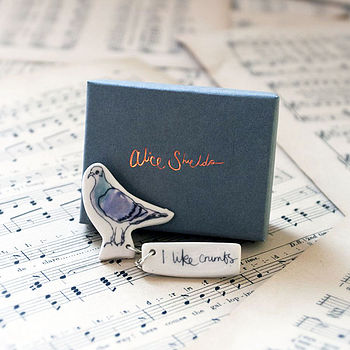 Hand Made Earthenware Pigeon Brooch