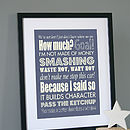 Personalised Dad's Sayings Print