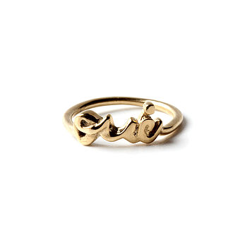 Gold Always Say Yes 'Oui' Ring