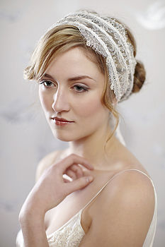 Isabella Ivory Beaded Chantilly Lace Hairband