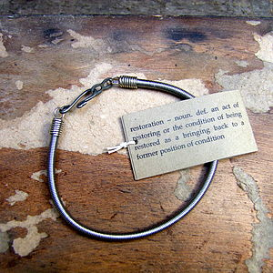 Recycled Bass Guitar String Bracelet - men's jewellery gifts