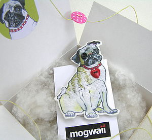 Pug Dog Brooch With Heart - pins & brooches