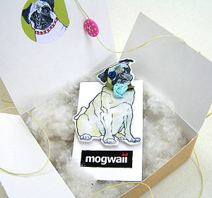 Pug Dog Brooch With Rose Collar