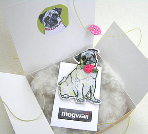 Pug Dog Brooch With Flower