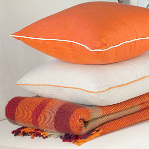 Orange Linen Cushion Cover With Piping - plain cushions