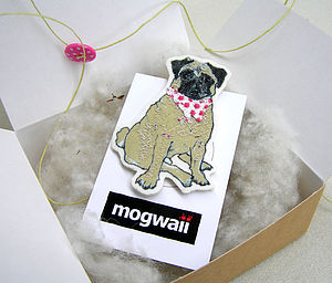 Tan Pug Dog Brooch With Spotty Necktie