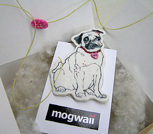 Pug Dog With Heart Collar Brooch