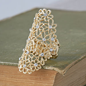 Gold Filigree Flower Ring - rings