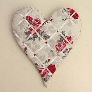 Rose & Pale Grey Padded Heart Noticeboard - noticeboards