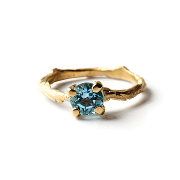 Topaz And 18k Gold Plated Sterling Silver Ring
