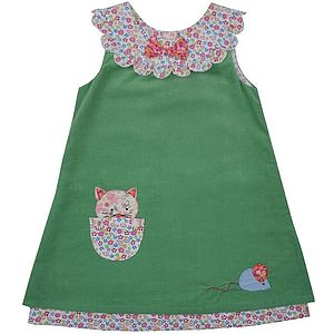 Green Cat And Mouse Dress - children's easter