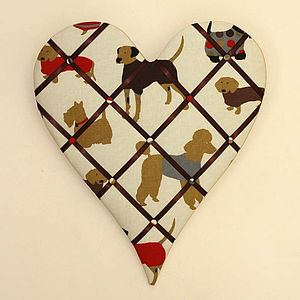 Dog Fabric Heart Shaped Noticeboard