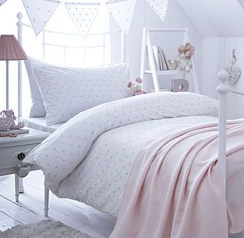 Girl S Pink Spot Embroidered Bedding By The Fine Cotton