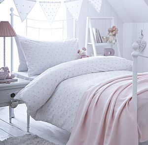 Girl's Pink Spot Embroidered Bedding - bed linen