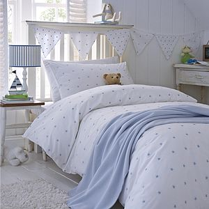 Blue Embroidered Stars Cotton Bedding - cot bedding