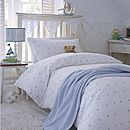 Blue Embroidered Stars Cotton Bedding