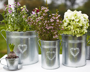 Set Of Three Galvanised Planters