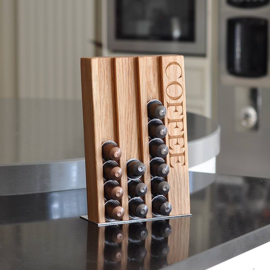 personalised oak coffee pod rack by the oak & rope company ...