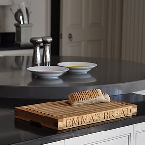 Personalised Oak Slatted Bread Board - gifts for her