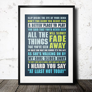 Personalised Favourite Music Lyrics Poster - art & pictures