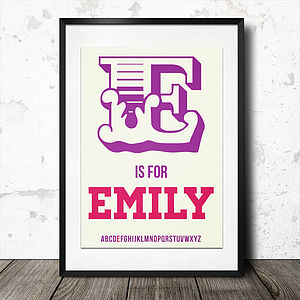Personalised Baby Name Alphabet Poster