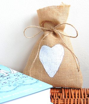Hessian Heart Favour Bag