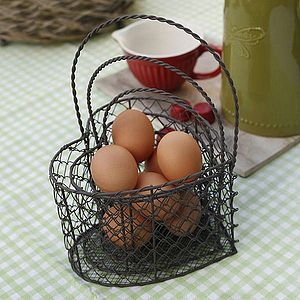 Set Of Three Heart Shaped Wire Baskets