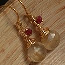 Rutilated Quartz Ruby Dangle Earrings