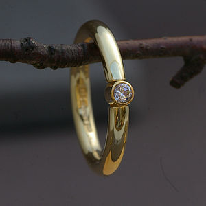 Handmade 18 Carat Gold Solitaire Ring - rings