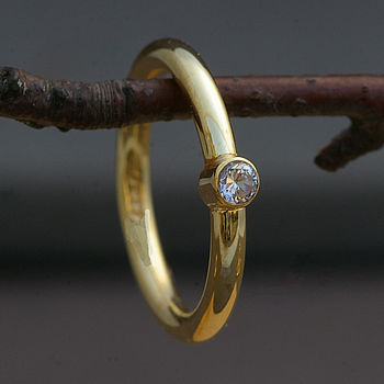 18 Carat Gold And Diamond Solitaire Ring
