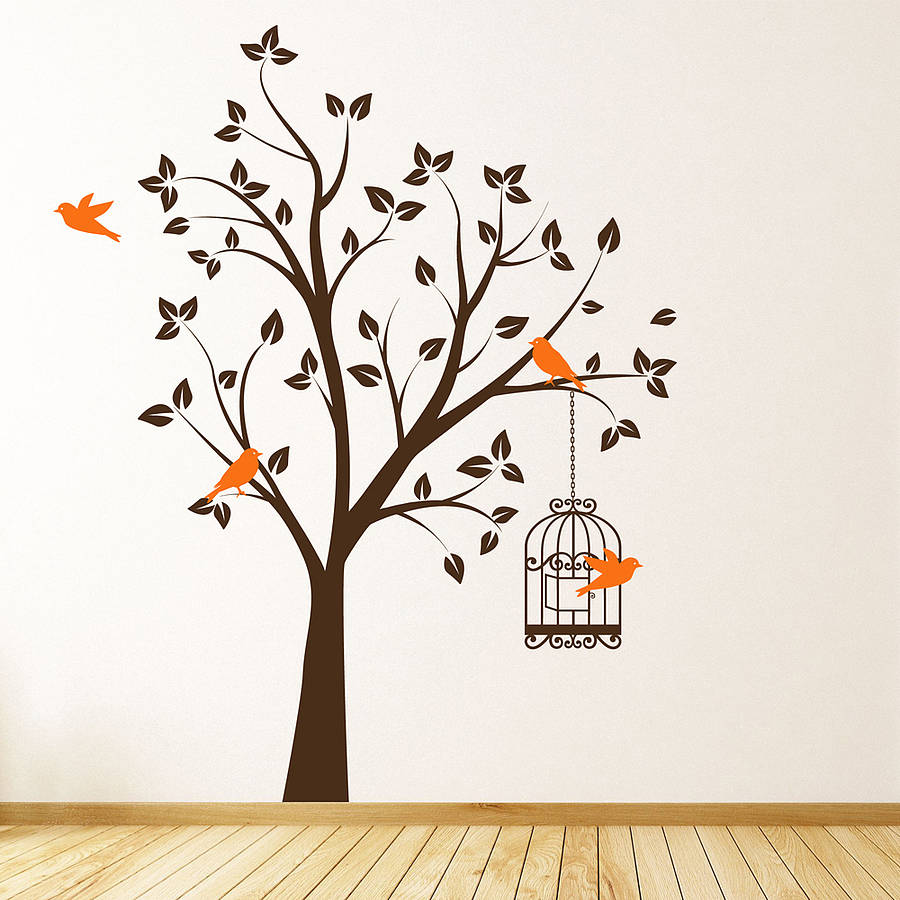 tree with bird cage wall stickers by parkins interiors birds and tree branch wall sticker decal