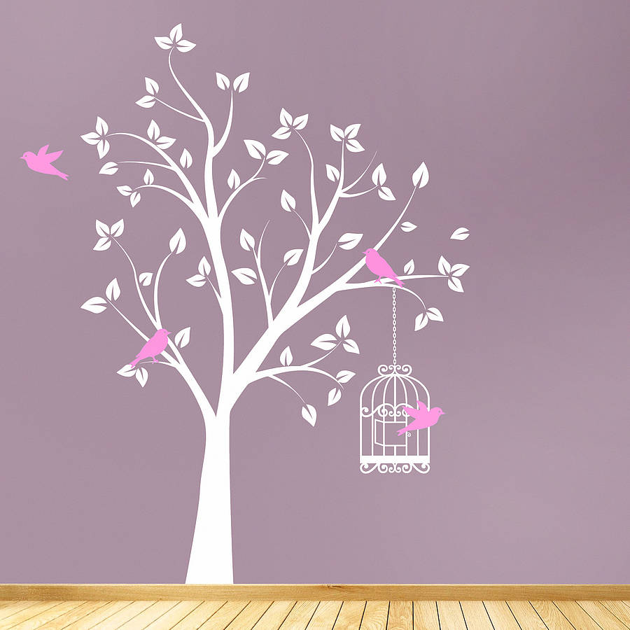 Tree with bird cage wall stickers by parkins interiors for Tree wall art