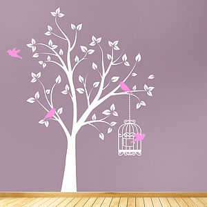 Tree With Bird Cage Wall Stickers - living room