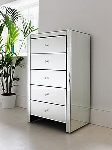 Mirrored Tallboy Chest - chests of drawers