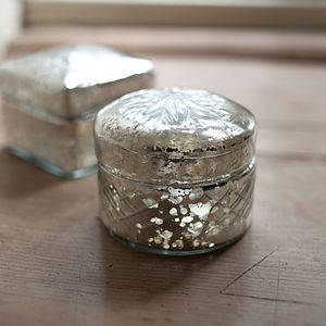 Antique Silver Glass Pot - jewellery storage & trinket boxes