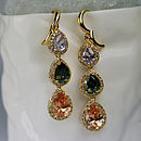 Jewel Tone Diamante Drop Earrings
