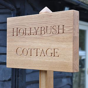 Bespoke Hand Carved Oak House Sign