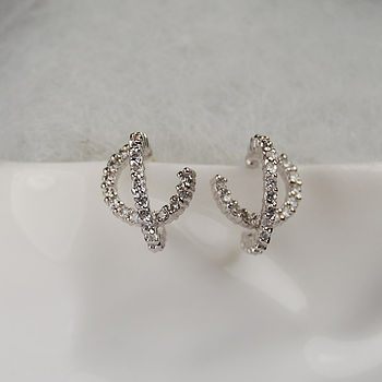Infinity Double Hoop Silver Diamante Earrings