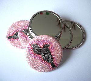Floral Bird Compact Mirror - beauty & pampering