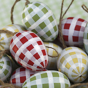 Set Of Three Gingham Eggs - easter decorations