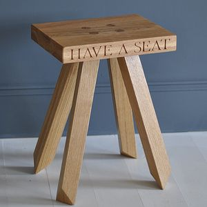 'Have A Seat' Oak Stool