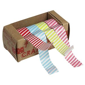 Pack Of Four Striped Washi Tape W Dispenser - finishing touches