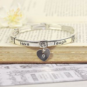 Personalised 'Live Love Laugh' Heart Bangle - women's jewellery