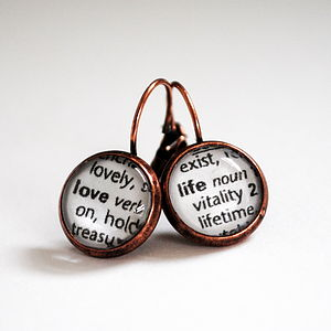 'Love Life' Vintage Dictionary Word Earrings